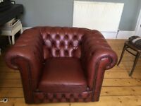 Oxblood Chesterfield 3 Seater + Armchair