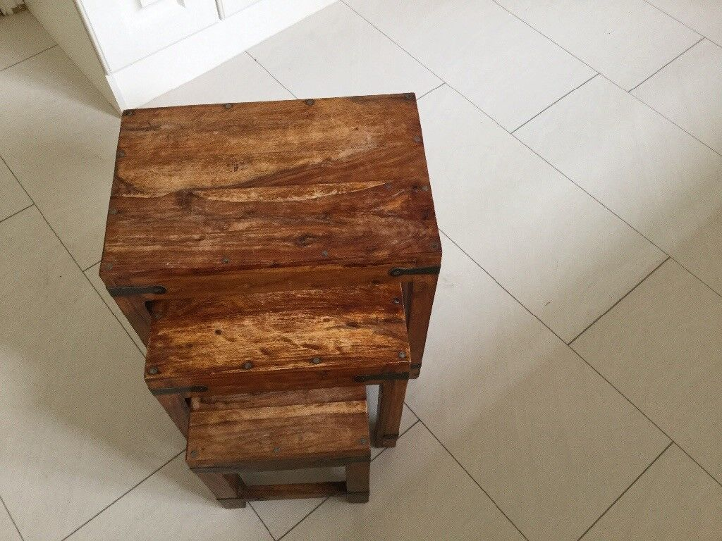 Indian Style Wood Furniture Set Of 3 Side Tables   In Angus   Gumtree