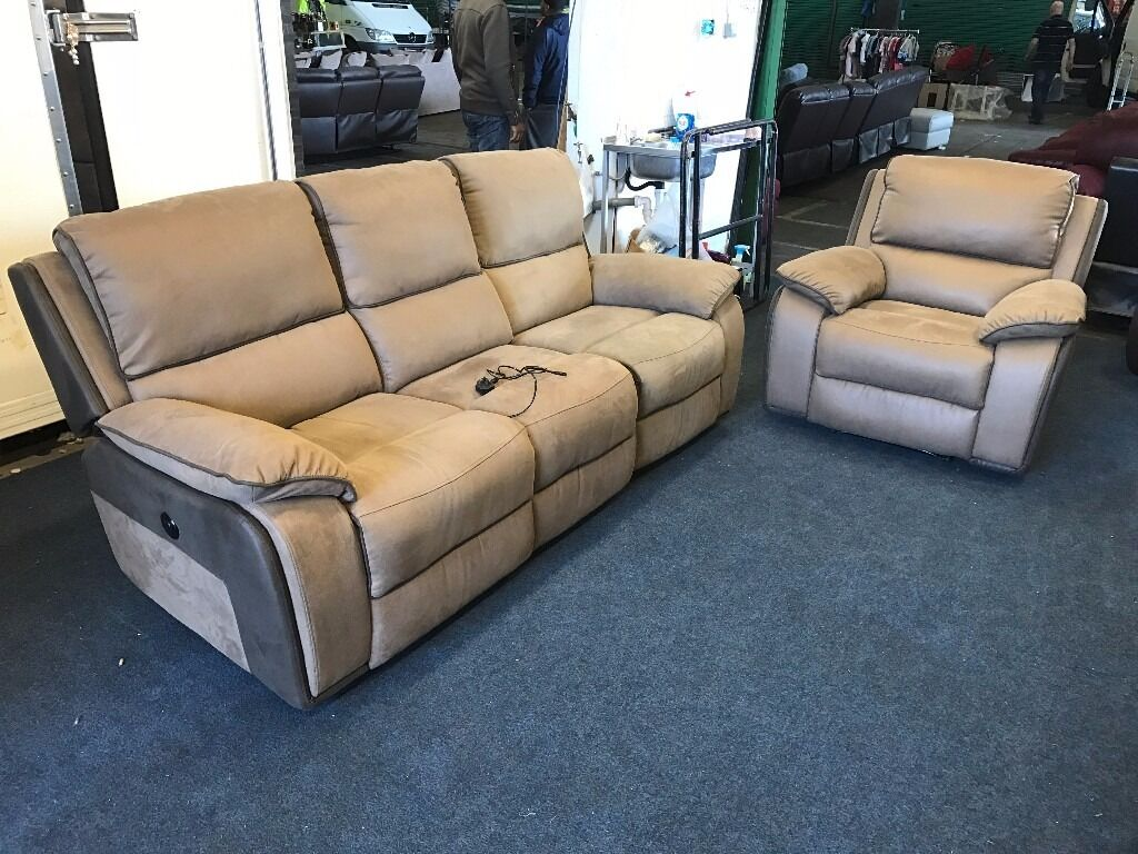 HARVEYS HOLDEN BROWN TAN SUEDE TYPE FABRIC LEATHER ELECTRIC POWER RECLINER 3 SEATER SOFA u0026 ARMCHAIR & HARVEYS HOLDEN BROWN TAN SUEDE TYPE FABRIC LEATHER ELECTRIC POWER ... islam-shia.org