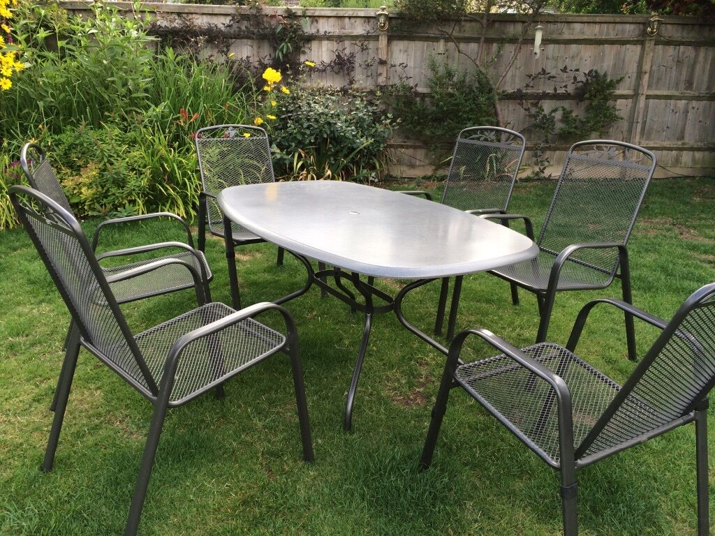 REDUCED Kettler Royal Garden Table With 6 Metal Mesh Chairs