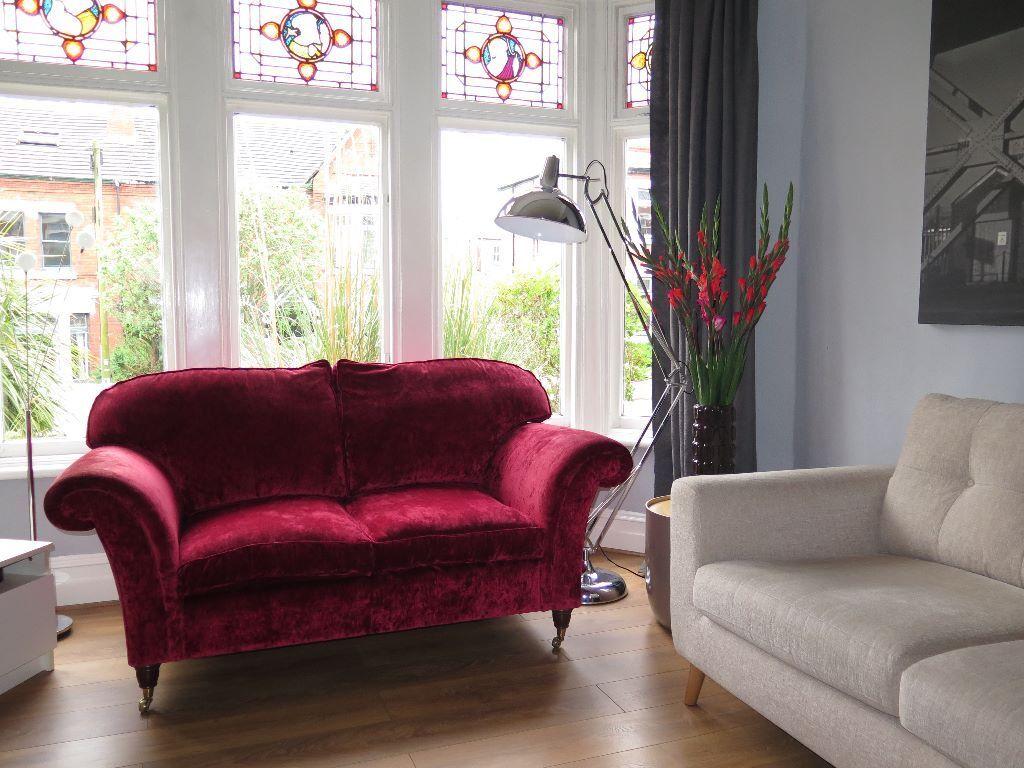 Red Cranberry Laura Ashley U0027mortimeru0027 2 Seater Sofa On Castors Crushed Velvet