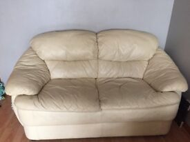 Three Piece Cream Leather Sofa