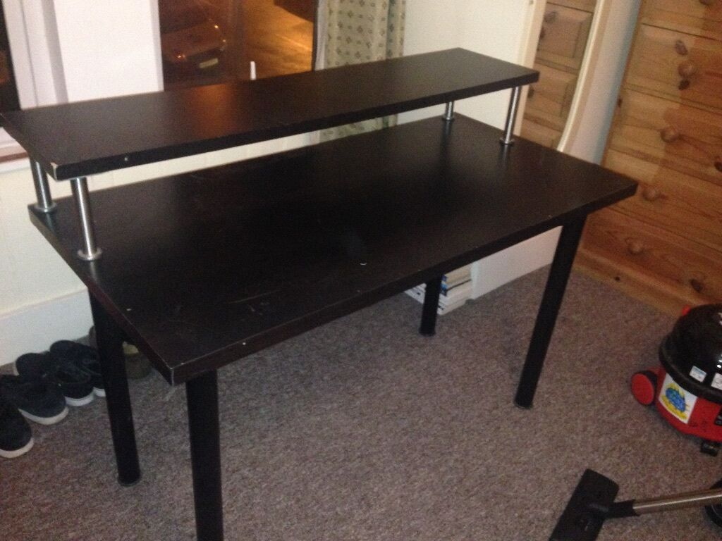 ikea desk with raised layer used for music - Music Production Desk