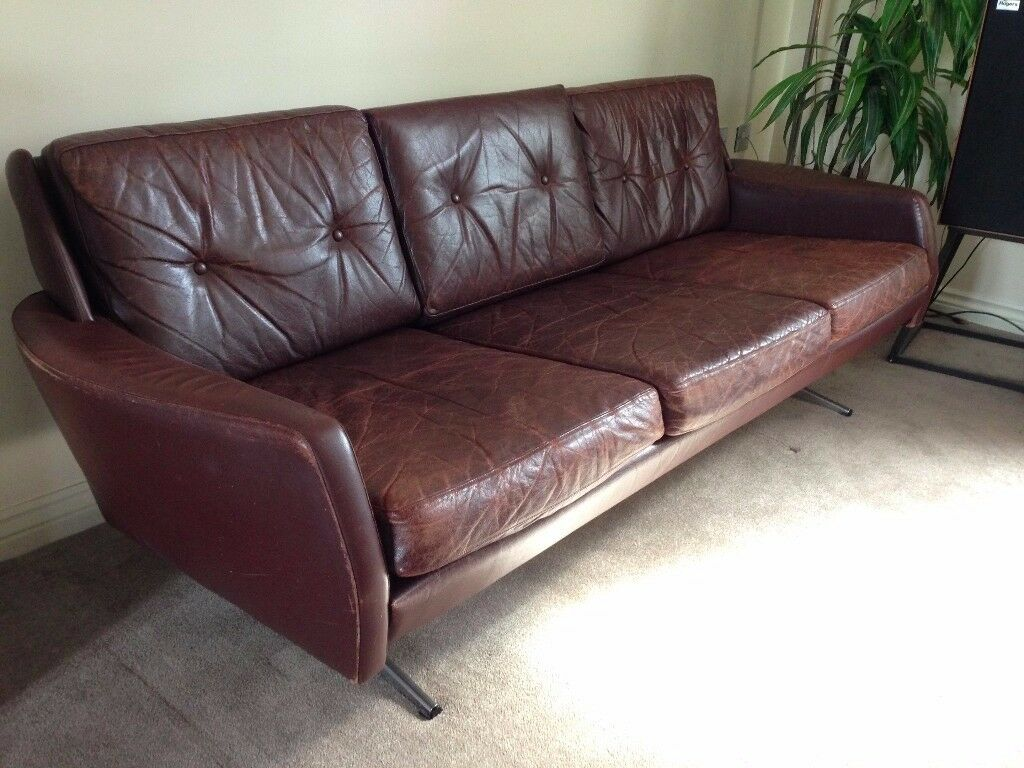 Bon Mid Century Vintage 3 Seater Brown Leather Sofa 1960u0027s Retro Danish  Modernist Style Couch Settee