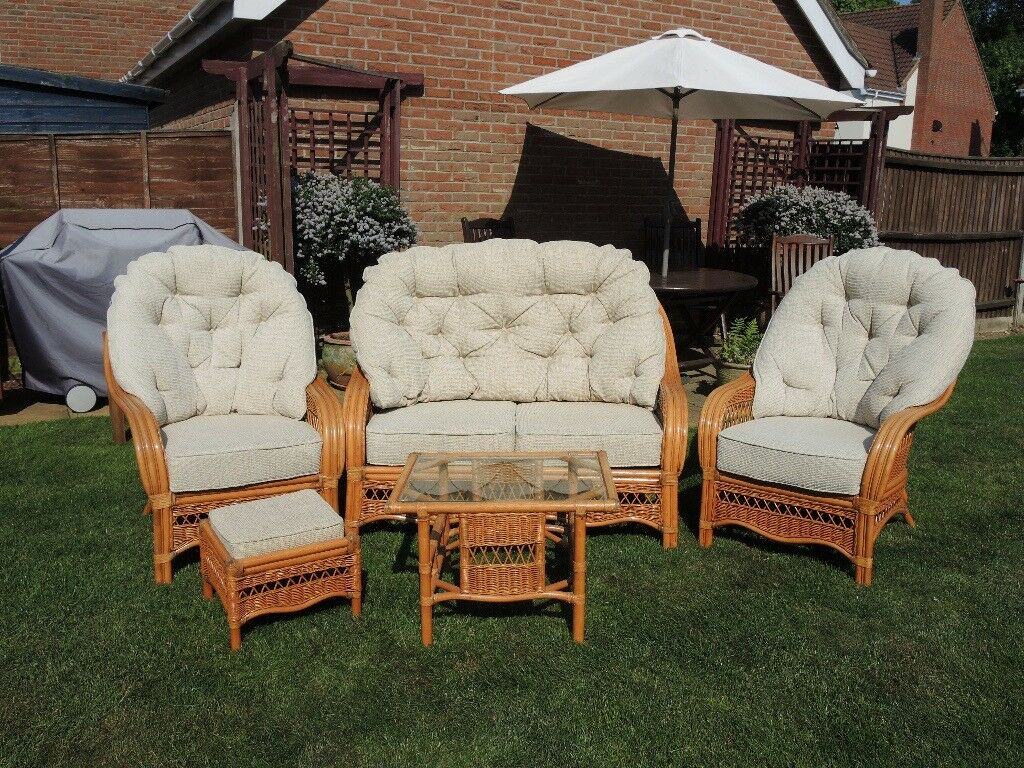 Two Seat Cane Settee And Two Chairs + Footstool