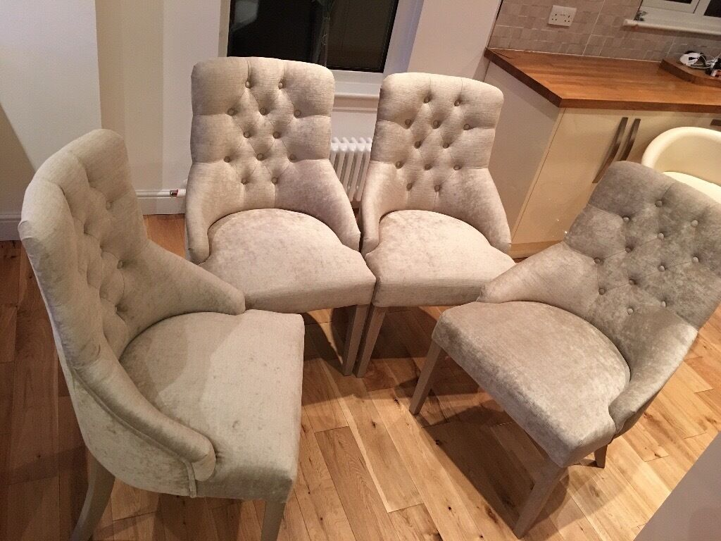 4 x Next Winchester Buttoned Velvet Chairs & 4 x Next Winchester Buttoned Velvet Chairs | in Erskine ...