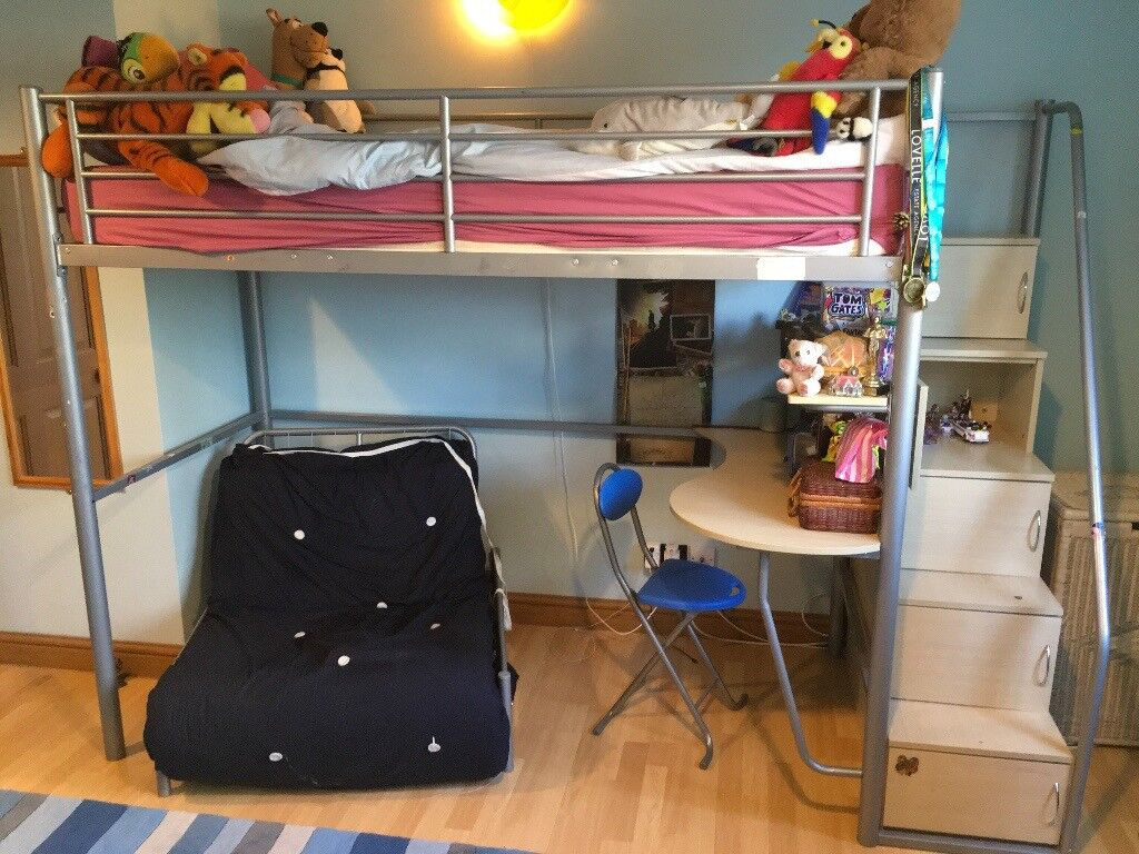 childs high bed workstation including steps storage unit futon desk and chair now childs high bed workstation including steps storage unit futon      rh   gumtree