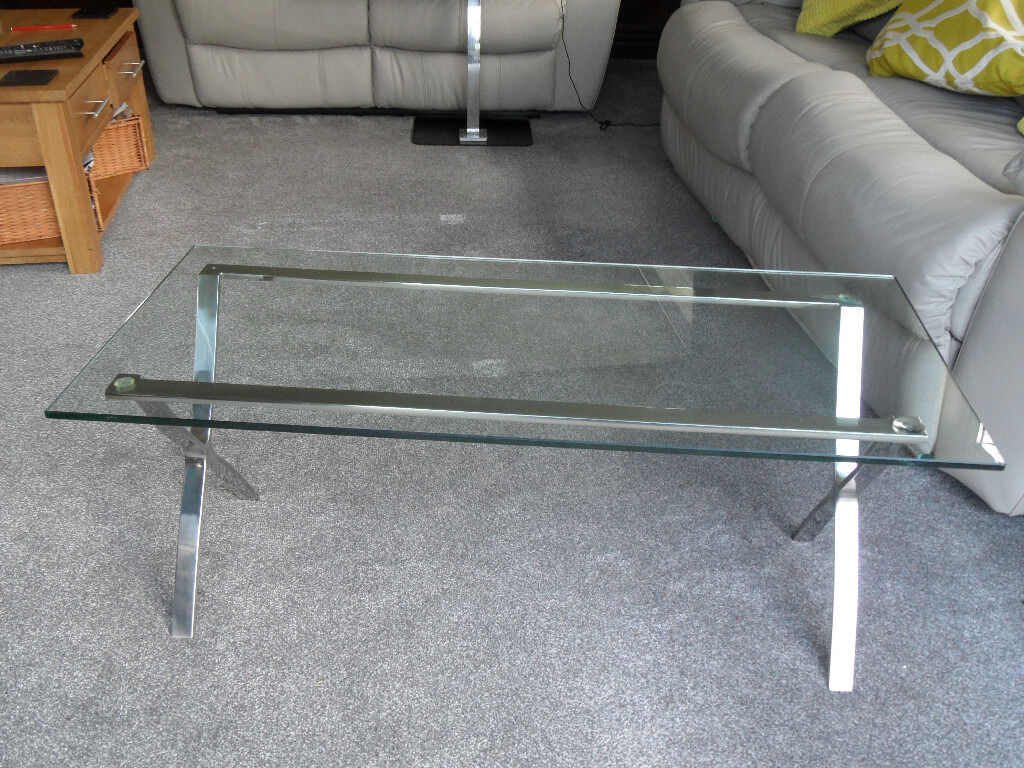 COFFEE TABLE   ATTRACTIVE STAINLESS STEEL U0027Xu0027 FRAME U0026 GLASS