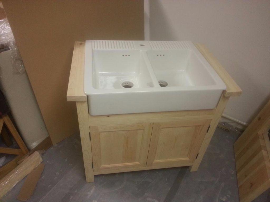 Charmant Freestanding Base Unit For Ikea Domsjo Ikea Sink Firs Double Bowl Domsjo  Sink, Solid Pine