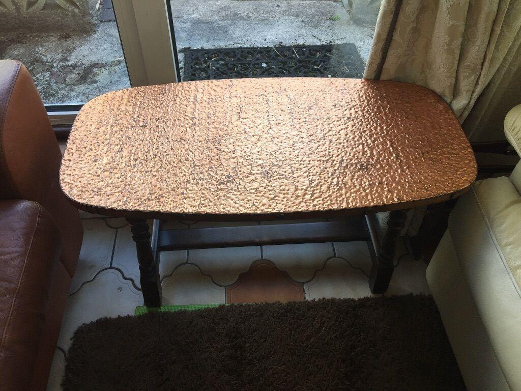 Vintage Copper Top Coffee Table