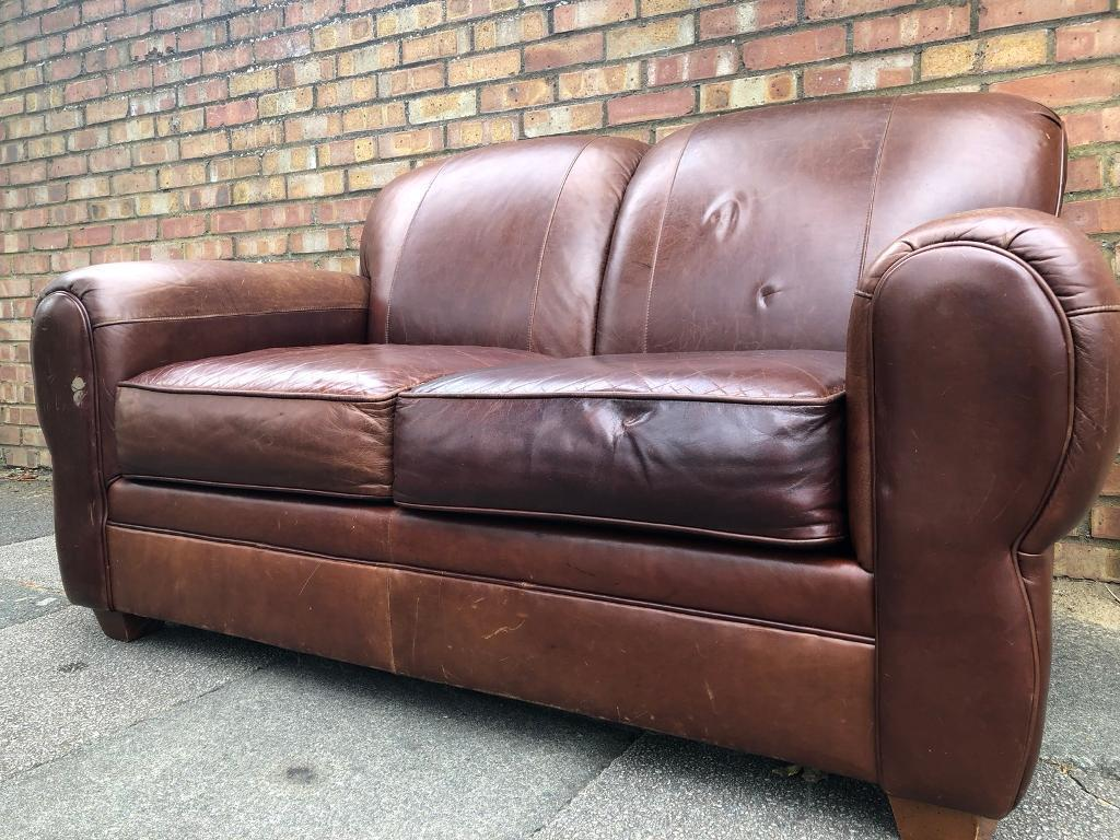 Vintage Art Deco Style Cigar Leather Sofa FREE LOCAL DELIVERY