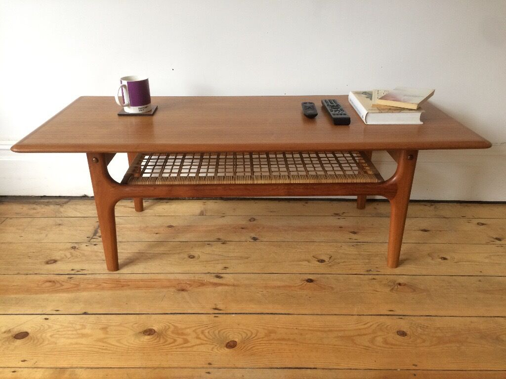Mid Century Danish Trioh Large Teak Coffee Table With Rattan Shelf Made In  Denmark
