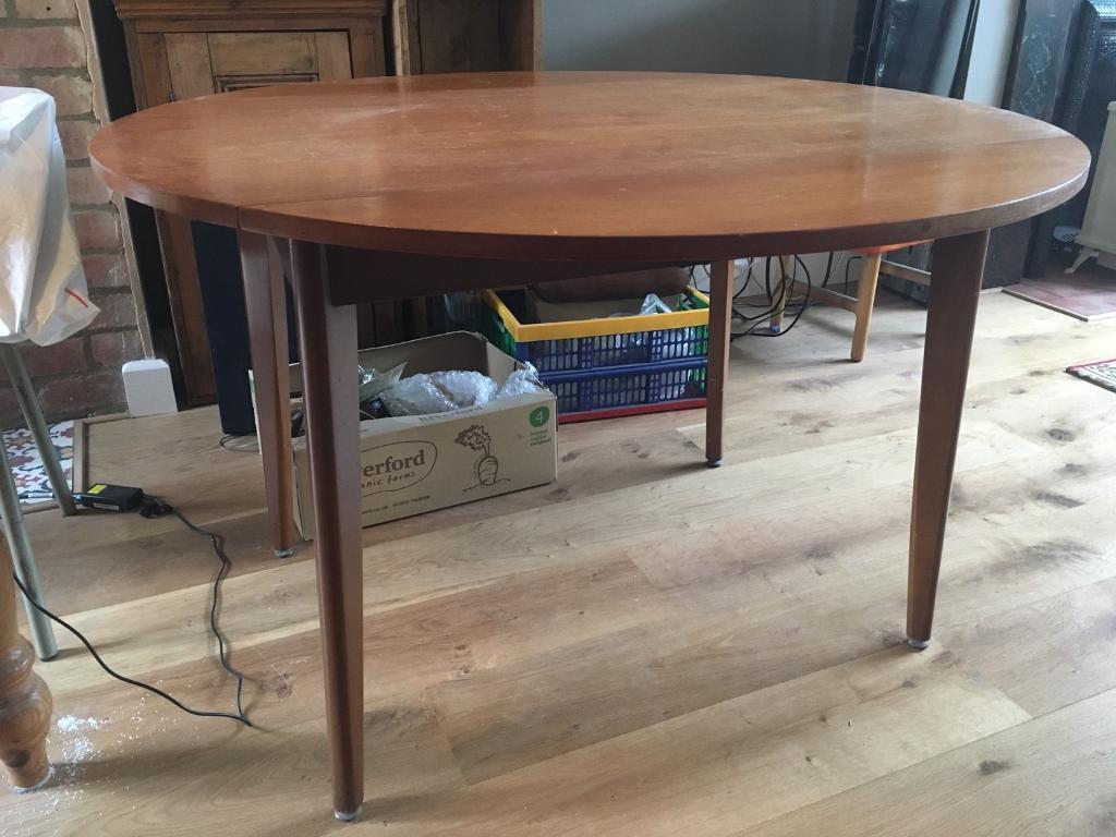 60u0027s/70u0027s Retro Wooden Round Fold Down Table