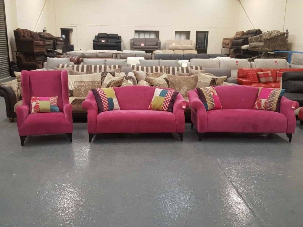 Ex Display DFS Shout Midi Pink Fabric 2x2 Seater Sofas And High Back Wing  Chair Part 87