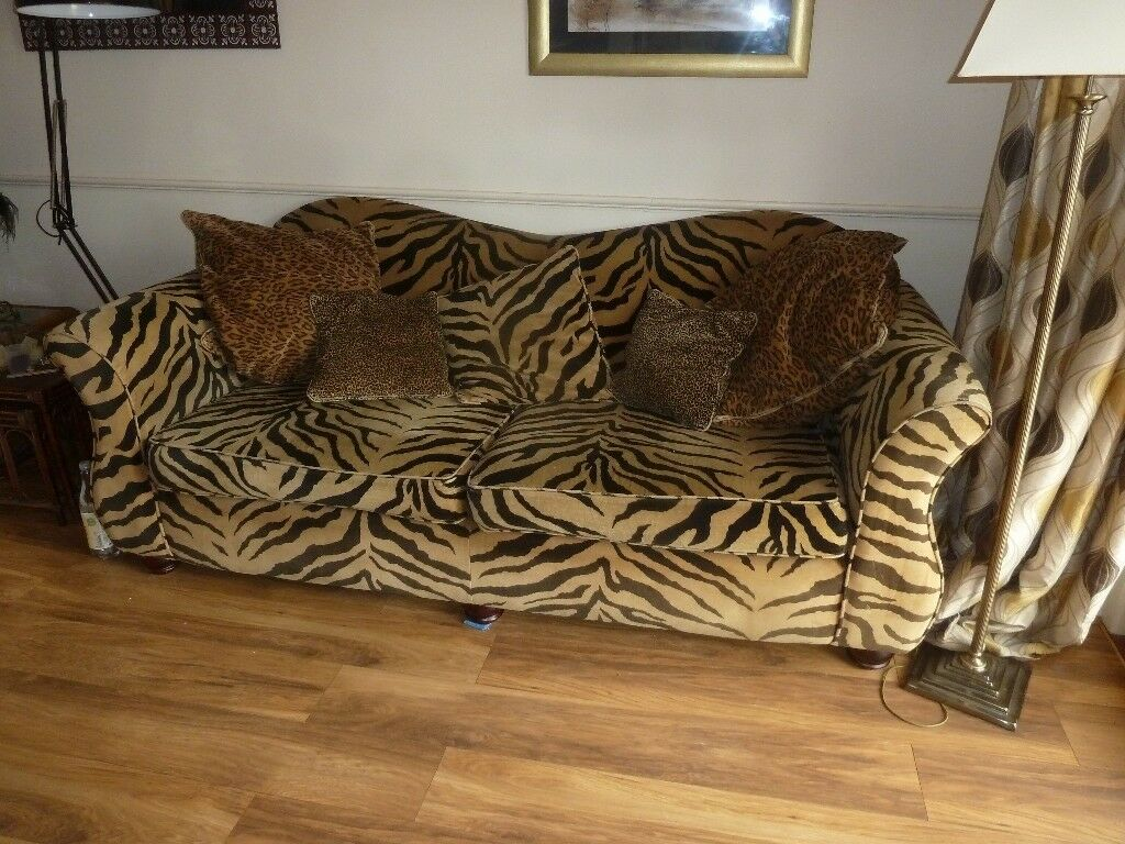 Fabulous, Large, Stylish, Comfortable Animal Print Sofa.