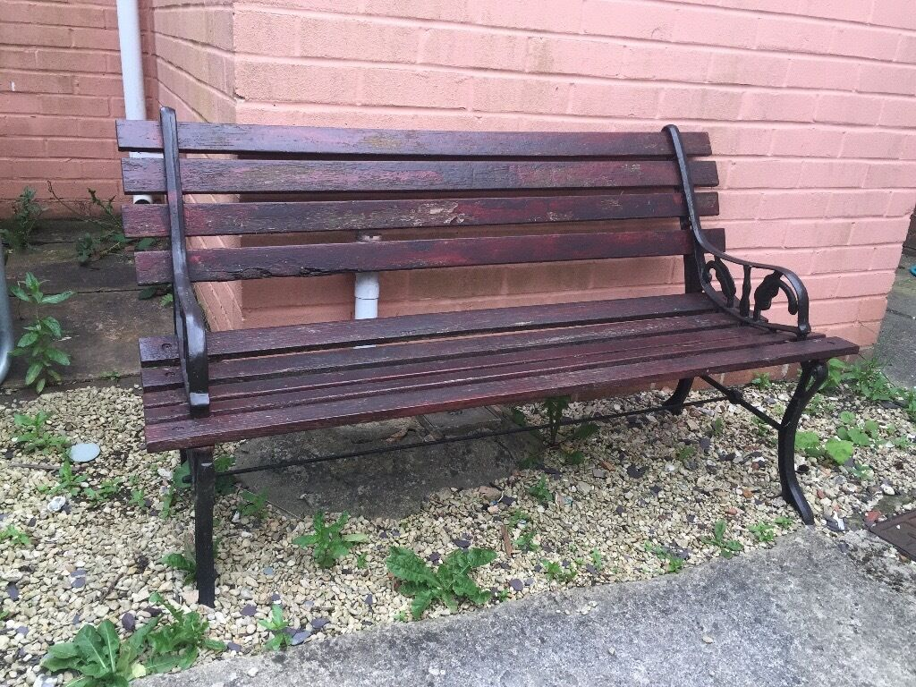 Nice Old Cast Iron And Wood Garden Bench