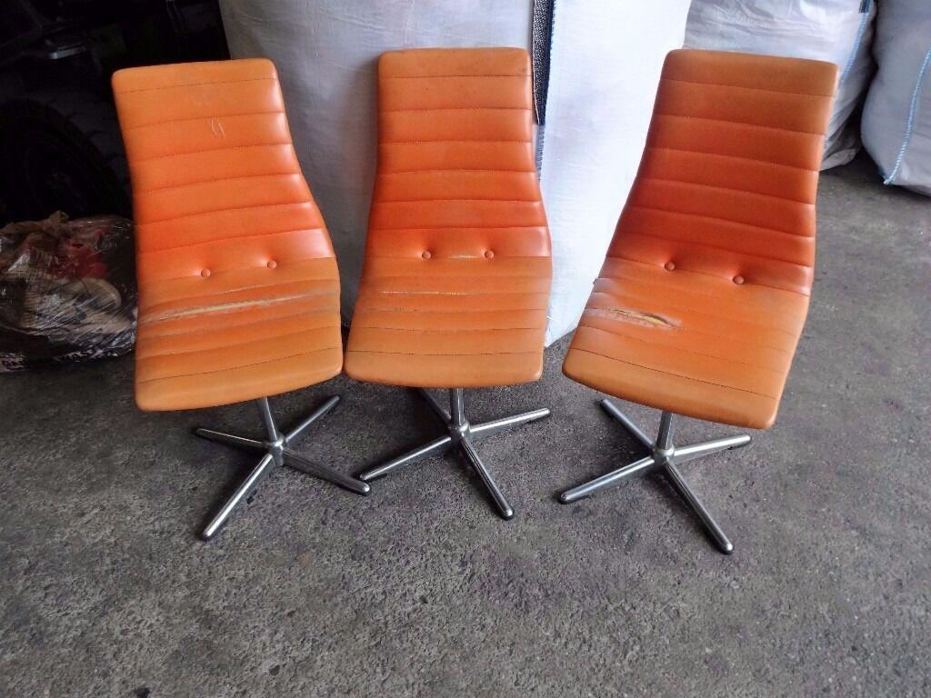 Retro Vintage German Orange Upholstered Chrome Swivel Chairs Restoration