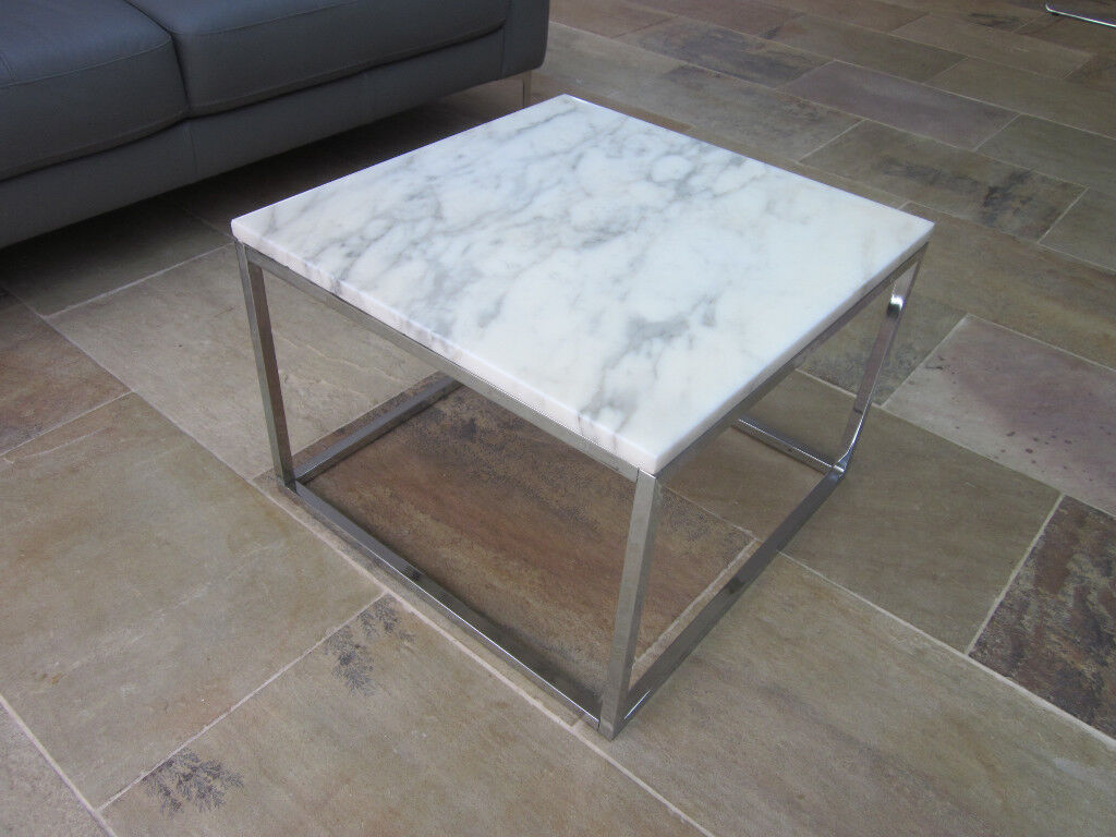 SOLID REAL WHITE MARBLE/CHROME SQUARE COFFEE TABLE 60.5CM X 60.5CM DWELL?