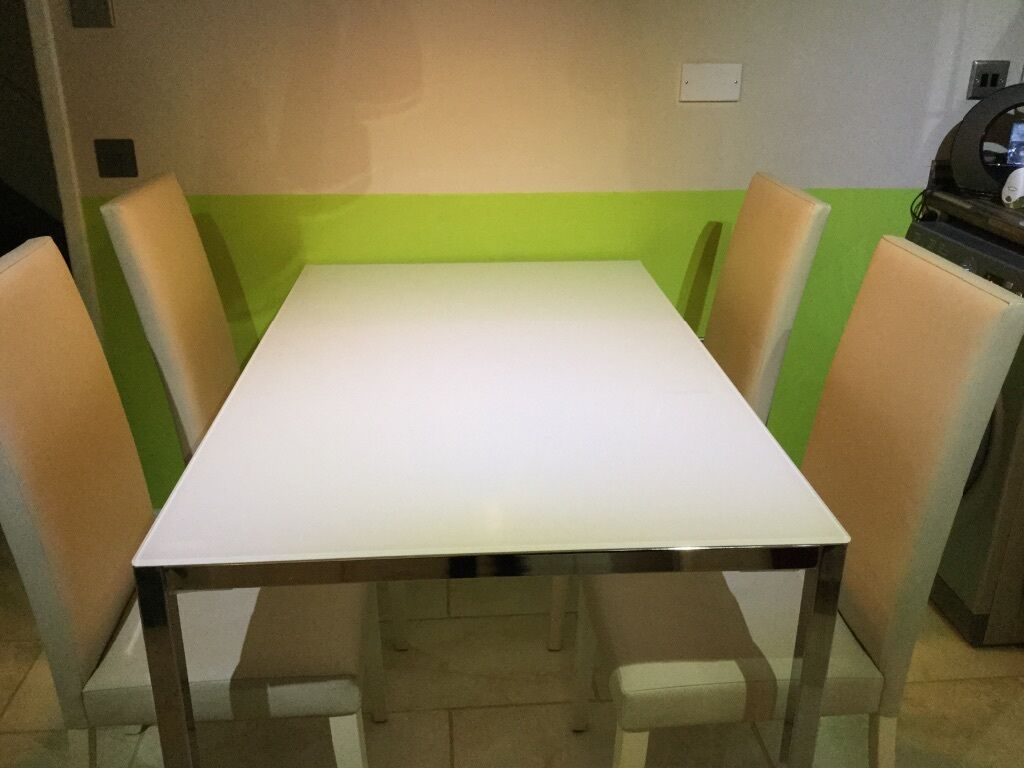IKEA TORSBY Table, Chrome Plated, High Gloss White With 4 Cream Leather