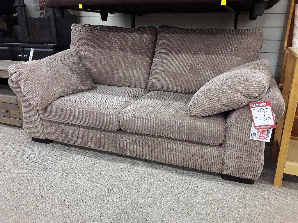 Light Brown Corduroy Fabric 2 Seater Sofa