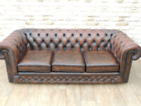 Chesterfield Vintage Antique Brown 3 Seater Sofa (Delivery)