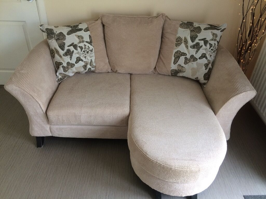Cream 2 Seater Pillow Back Lounger Sofa