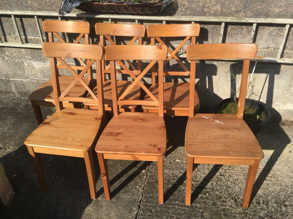 5 X Pine Chairs Plus 1 Broke As In Picture