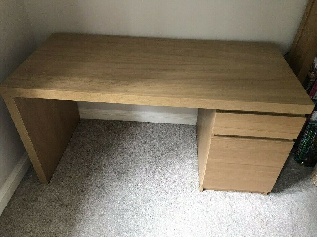 Malm Ikea Desk With Oak Finish In Good Condition   Collection Only | In  Durham, County Durham | Gumtree