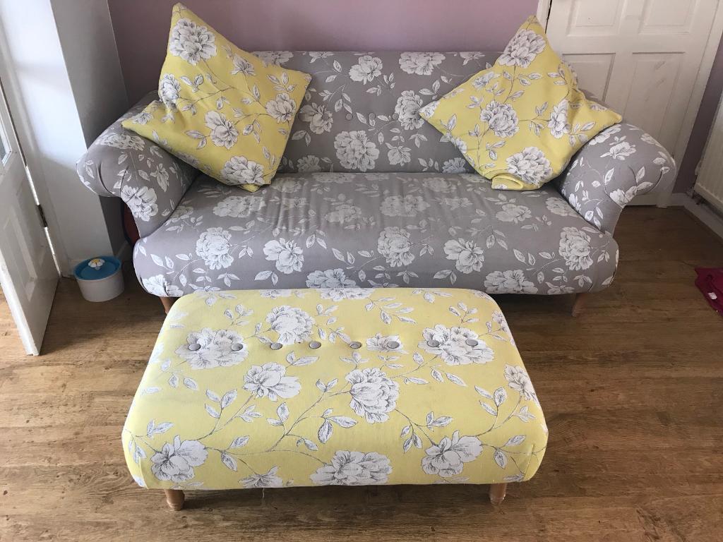 DFS U201cFlorau201d Range Floral Formal Back Sofa, Armchair And Footstool, Grey/