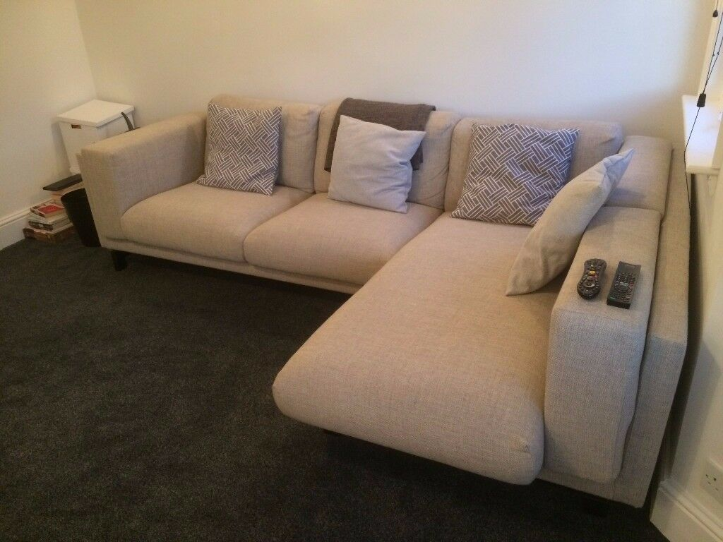 Almost New   Light Grey IKEA NOCKEBY Two Seat Corner Sofa