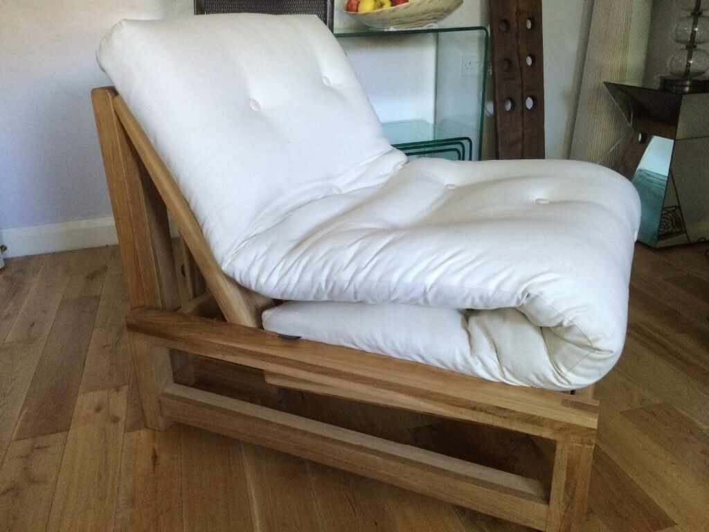 Solid Oak Single Sofa Bed Futon Armchair By Company With Mattress