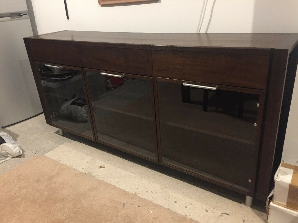 Dwell Dark Brown Sideboard Cabinet With Glass Doors Dark Brown