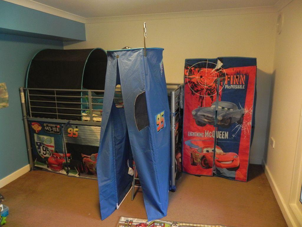 Disney Cars Boy Mid Sleeper + Tent + Wardrobe Set Metal Bed Bunk Loft Cabin High & Disney Cars Boy Mid Sleeper + Tent + Wardrobe Set Metal Bed Bunk ...