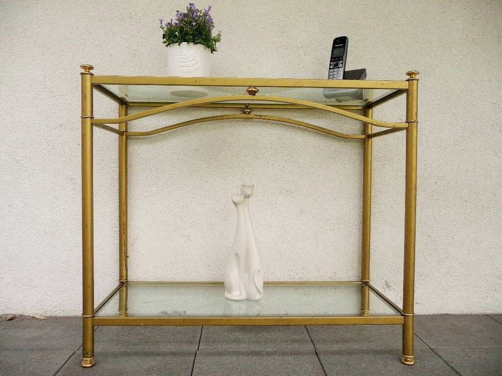 Console Table Hallway Corridor, Gold Brass Metal And Glass, Bevel Cut  Glass, Art Deco Vintage