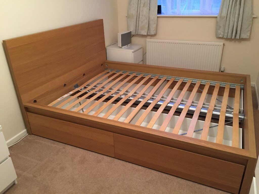 malm oak veneer standard king size bed frame high with 4 large drawers