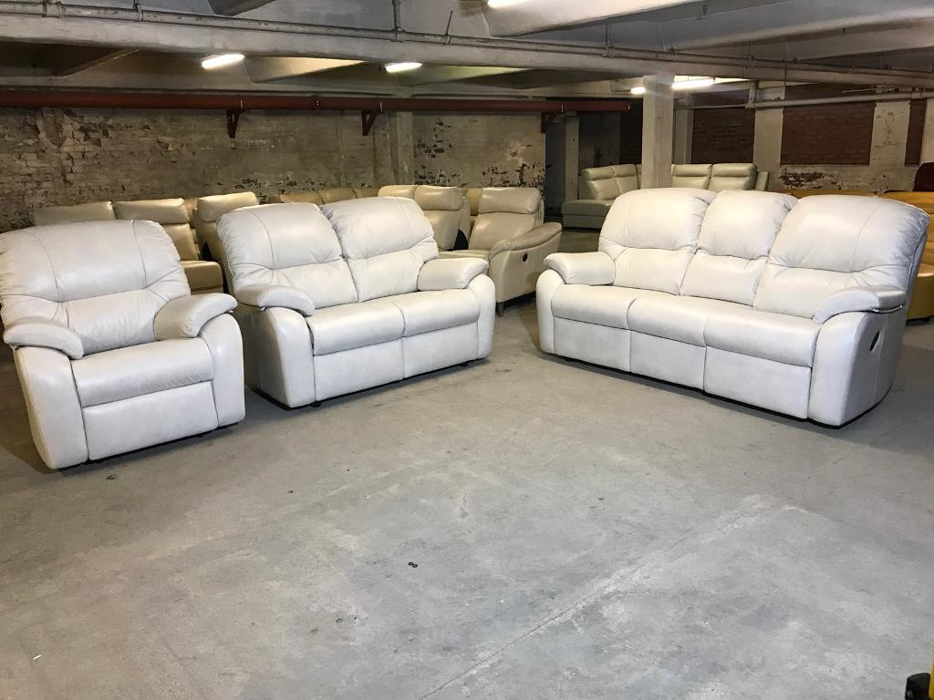 NEW FURNITURE VILLAGE G PLAN MISTRAL WHITE LEATHER THREE PIECE SUITE 3 And  2 SEATER SOFA ARMCHAIR