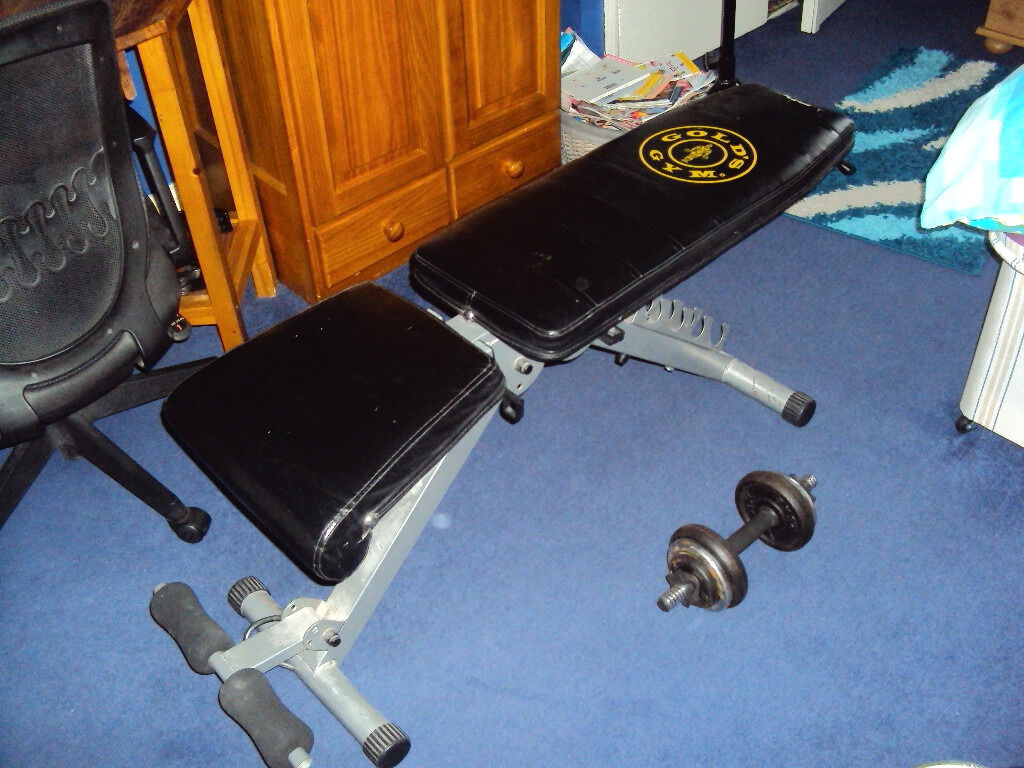 Golds Gym Utility Bench Part - 15: Golds Gym Utility Bench With 20kg Cast Iron Dumbell Set