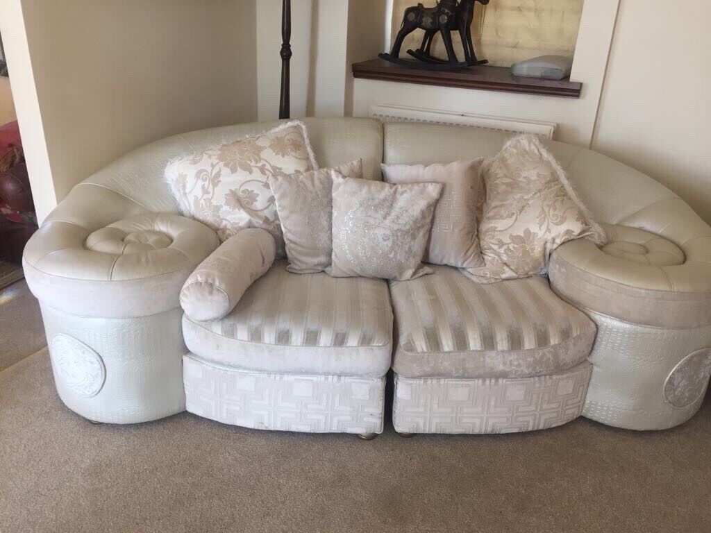 Two Versace Sofas Arm Chair Including Versace Coffee Table Rug And End  Table For Sale
