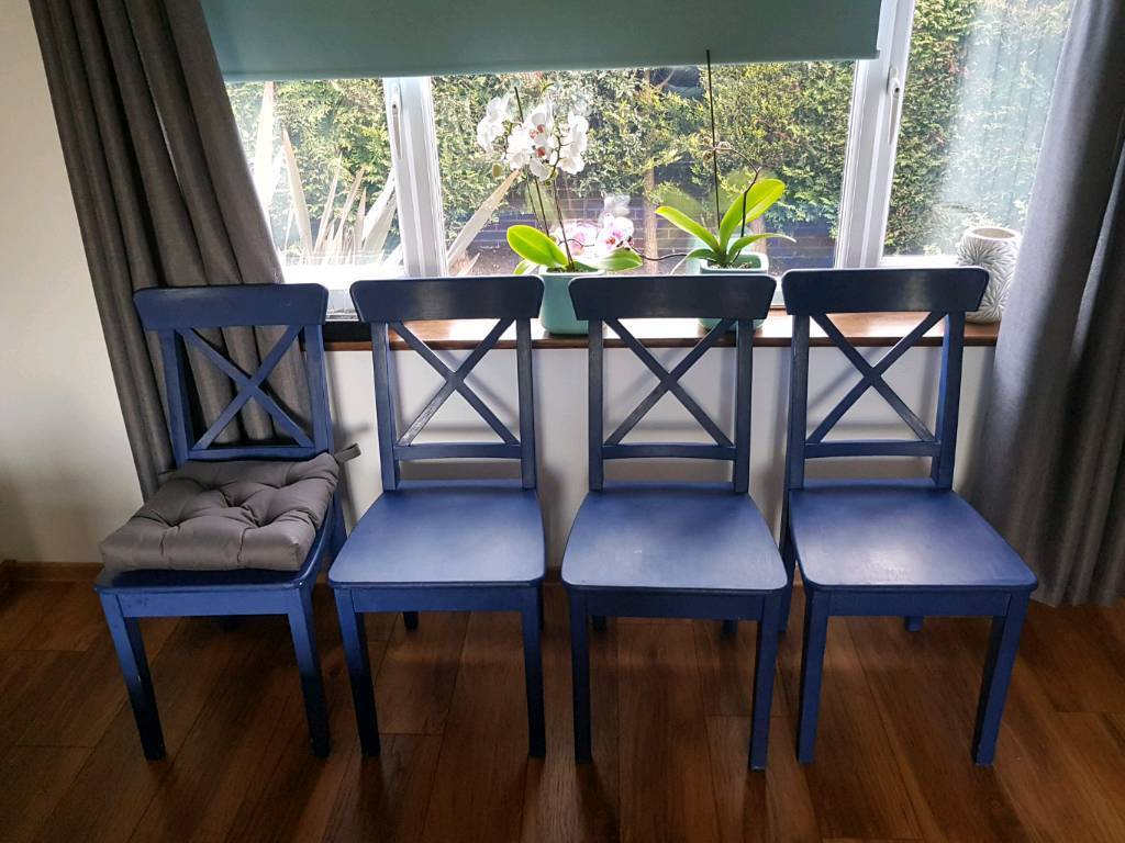Merveilleux 4 Ikea Ingolf Chairs Painted In Blue