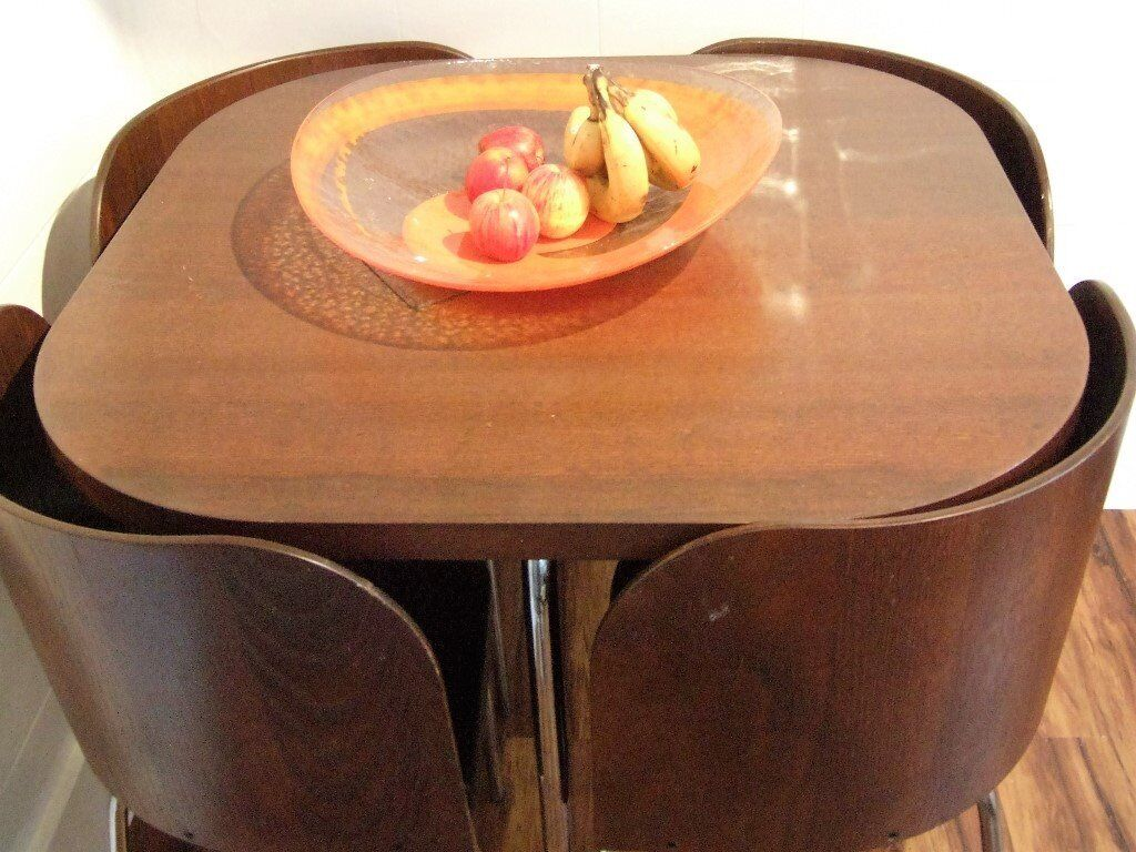 SOLD Quirky Dining / Kitchen Table U0026 4 X Wrap Around Chairs   Wood With  Metal