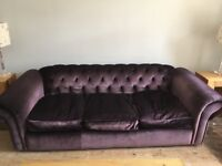 Velvet Chesterfield Sofa (purple)   Immaculate Condition