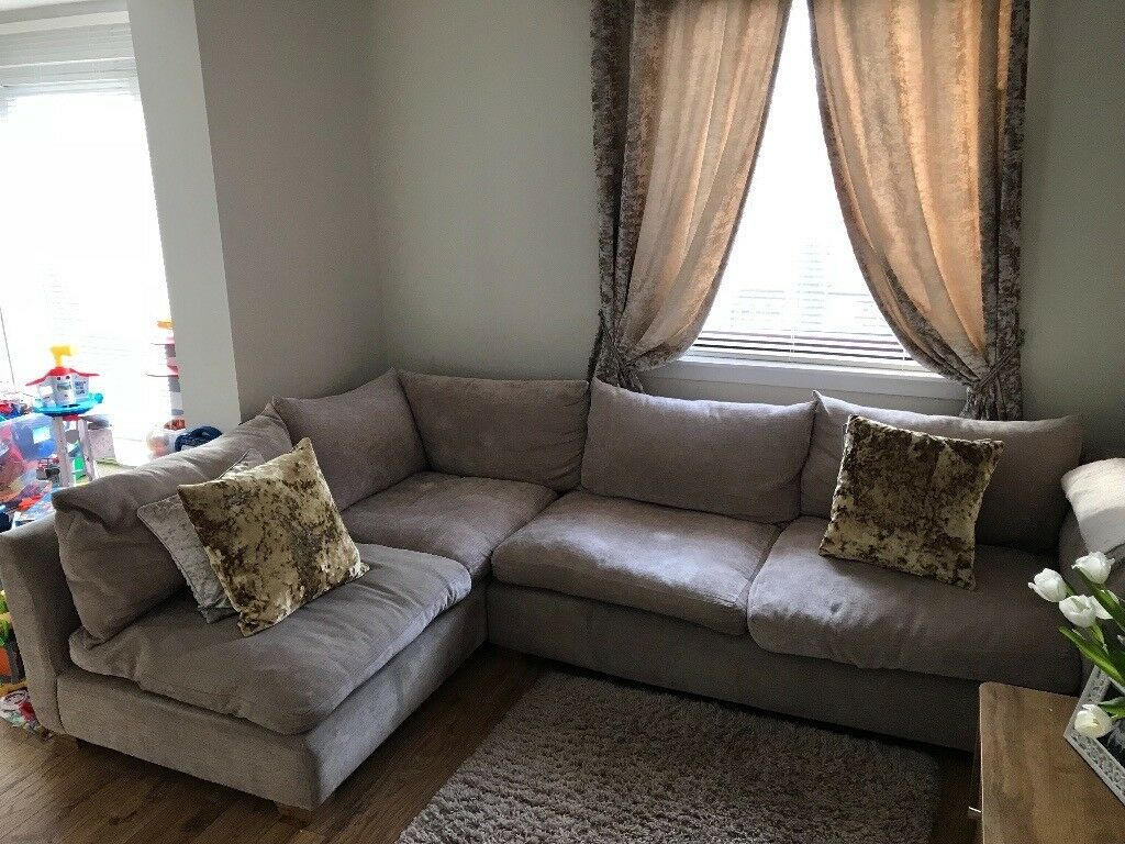 Awesome Corner Fabric Sofa With Snuggler Seat And Matching Footstool Colour Mink  Pet And Smoke Friendly Home Amazing Pictures