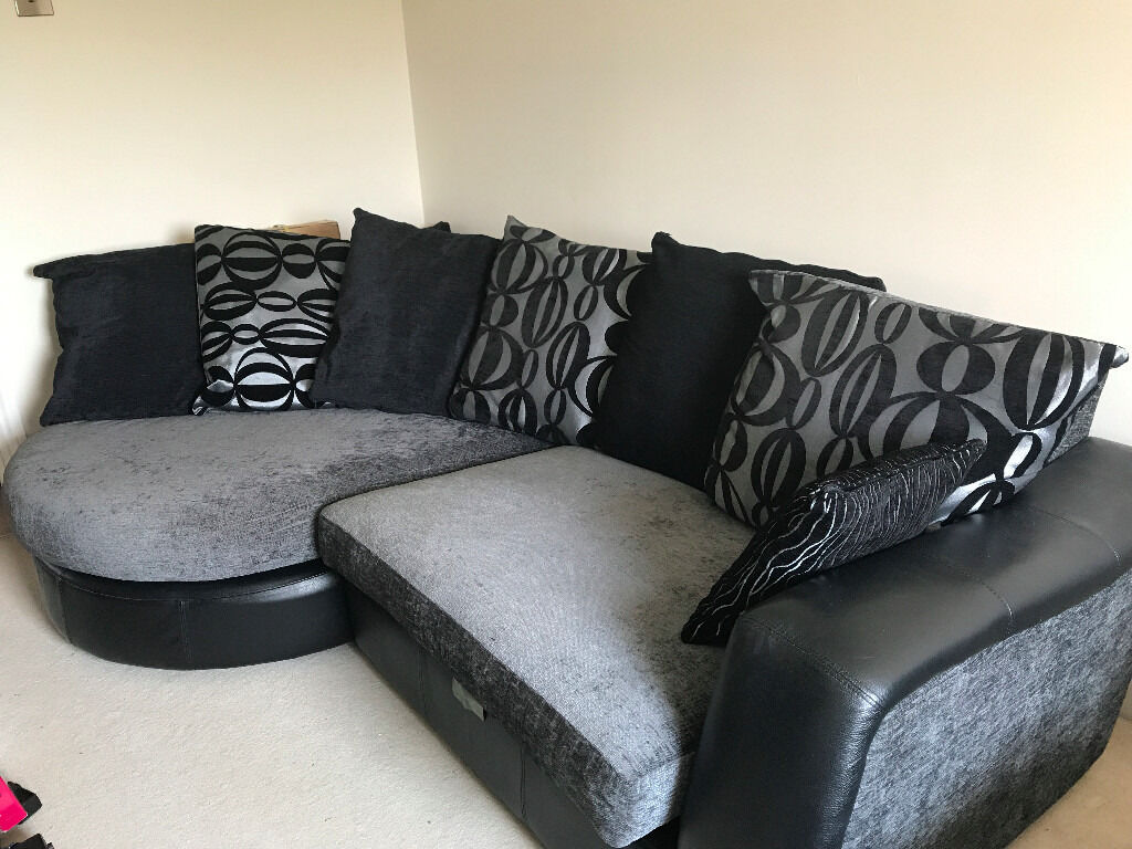 DFS Mylo Leather / Fabric Curve Sofa (Black And Silver) With Matching  Cuddle Chair