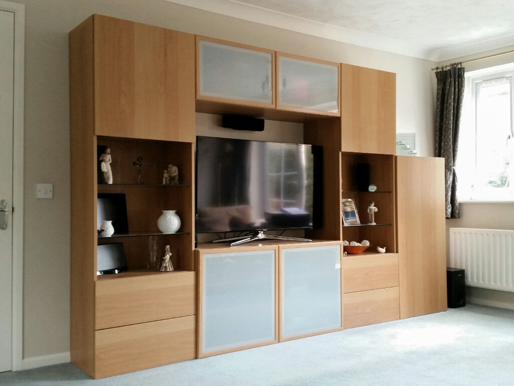 IKEA BESTA STORAGE SYSTEM INCLUDING TV CABINET   OAK EFFECT FINISH    EXCELLENT CONDITION   LIKE