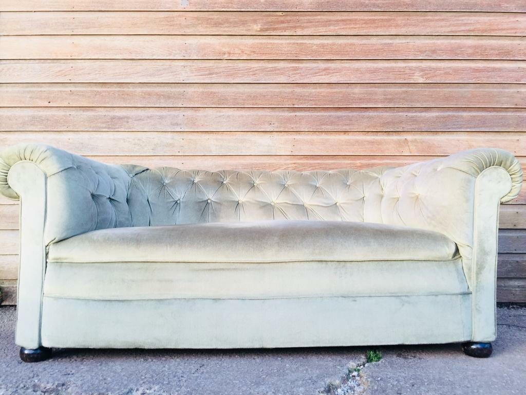 Vintage Edwardian Deep Chesterfield Sofa Green Velvet