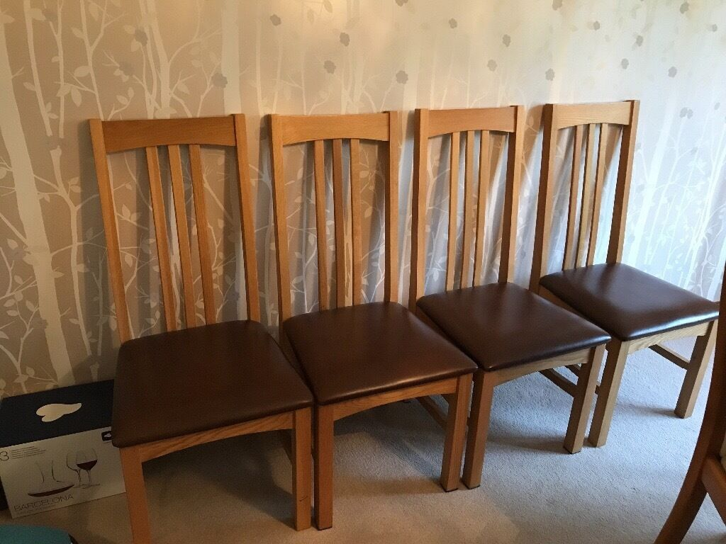4 Multiyork Solid Oak Copenhagen Dining Chairs With Leather Seats