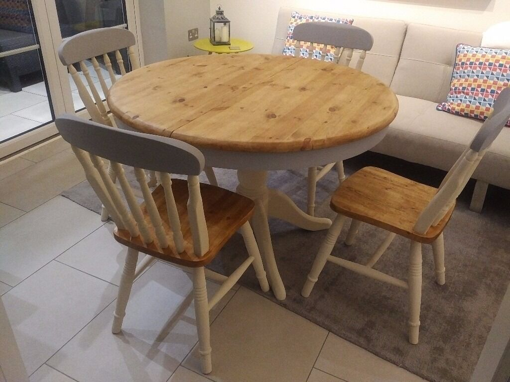 Superb Round Solid Pine Grey And Cream Shabby Chic Farmhouse Dining Table With 4 X  Chairs