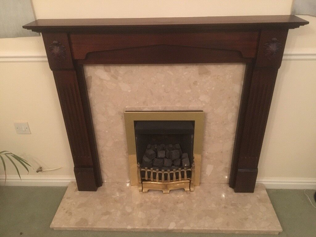 Fireplace And Gas Fire, Wooden Surround With Marble Hearth U0026 Back Plate