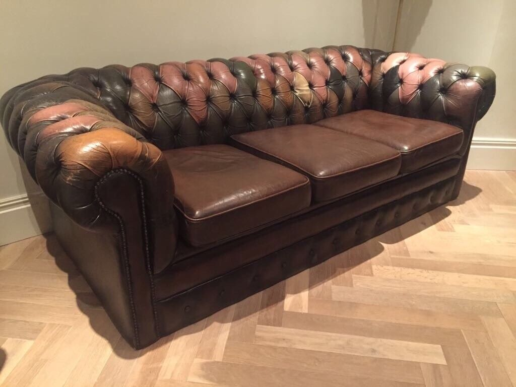 Brown Leather Harlequin Chesterfield Sofa And Armchair