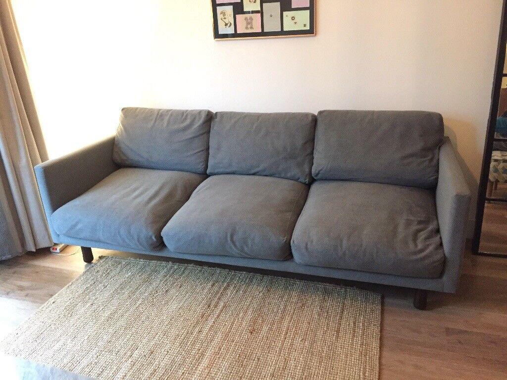 MADE U0027Careyu0027 Three Seat Sofa, In Grey Fabric, 60u0027s Style
